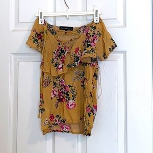 Yellow floral ruffled top
